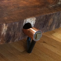 Jonathan shor tables tree slab table with cylindrical copper and brass drawer steel legs pictured in zelkova available in wood of your choice watchthetrailerfo